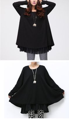 Black loose fitted short plus sized cotton dress with 2 layers worn by a thin model with black and white patterned leggings and an elephant pendant necklace.
