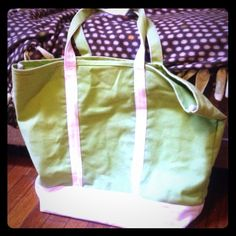 Canvas Tote summer bag Summer tote bag Canvas large tote bag green and white feel free to ask questions !! LL bean tote L.L. Bean Bags