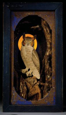 missfolly:    Untitled (aka Great Horned Owl with Harvest Moon), by Joseph Cornell, ca. 1942