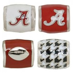 """Teagan Collegiate Collection Bead: University of Alabama Combo set. This bundle contains two University of Alabama Beads:     UA1 White """"A"""" on Crimson     UA2 Crimson """"A"""" on White     UA3 Houndstooth     UA6 Football on Crimson Beads are 925 Silver and Enamel. These are """"Teagan"""" beads and it is compatible with Pandora, Biagi, Zable, Brighton, Troll and many other European style bracelets."""