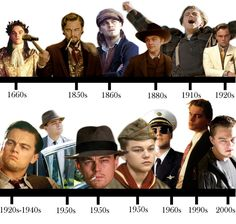 The Leonardo DiCaprio role timeline… | The Leonardo DiCaprio Character Timeline...uhhh romeo and juliet is missing