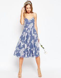 ASOS WEDDING – Mittellanges Kleid mit Rosé-Prut