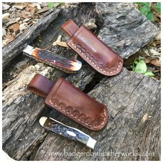A couple examples of folding knife sheaths. Hand stitched 7oz Hermann Oak with decorative tooling. More pics  #badgerclawleatherworks #customleather #handsewnleather #leathersheath #knives #adventuregear #edc #madeintheusa #handmade