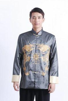 Black Traditional Chinese Men Silk Satin Coat Vintage Kung Fu Jacket Embroidery Dragon Overcoat Size M L XL XXL XXXL MJ002