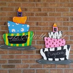 Birthday Cake Wood Door Hanger by SBCraftsUnlimited on Etsy