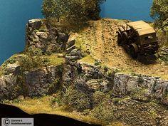 Diorama Grundplatte 99, große Bergstraße 90 x 40 cm, 1:35