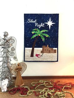 Silent Night #Tropical Palm tree with sand castle of Jerusalem  The full kit includes:  All the #pre-cut #pre-fused appliqué pieces.  The perfect background fabric.   Hot-fix ... #appliquekit #wallhanging #quiltkit #makeitinaday #funandeasy #christmas #quilting #star #tropical