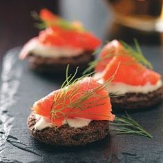Smoked Salmon-Dijon Creme Fraiche Canapes Recipe. #Newyear #Recipes #Menus #Appetizers