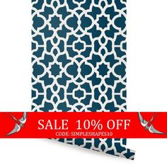 Sale  Trellis White Navy Peel & Stick Fabric by AccentuWall