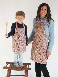Sewing an Adorable Children's Apron for Your Little Kitchen Helper And Make One For Yourself. Sign Up For www.craftsy.com/blog To Get Access To Free Tutorials Patterns Etc. I Already Have More Than 300!