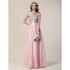 A-line Strapless Floor-length Stretch Satin And Tulle Evening Dress  – USD $ 244.99