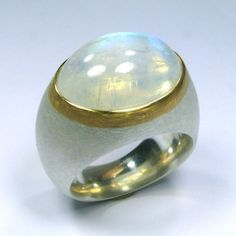 Ring, Silber 925/-, Gold 750/-, Mondstein 13x18mm, oval, Cabochon, 14,33 Carat