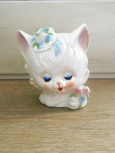 Vintage Napcoware Kitty Cat Head Planter Vase  by MemeresAttic