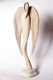 Though beautifully carved of wood, this could translate well into clay Wooden Crafts, Clay Crafts, Pottery Angels, Clay Angel, Ceramic Angels, Christmas Clay, Angel Art, Whittling, Sculpture Clay