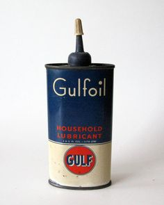 Rare Vintage Gulfoil Household Lubricant 4 oz oil can with top.    Measures ... 6 1/2 x 2 1/2    Good vintage condition, very minimal rusting on the back