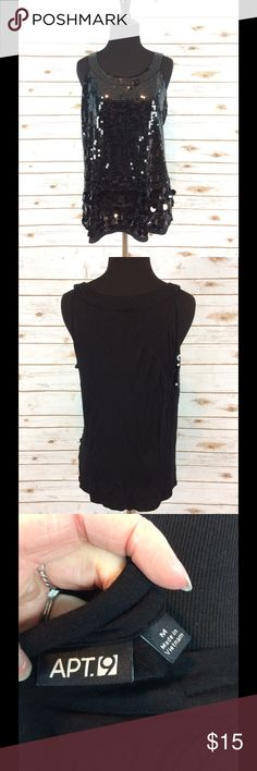 Black Sleeveless Apt 9 Sequined Top Womens Apt 9 Black Sleeveless sequined top, size M.  Great condition and perfect for the holidays. Apt. 9 Tops Tank Tops