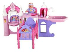 Disney Princess Nursery Playcenter Little girls will love to give this adorable Princess themed doll the royal treatment with the Princess Nursery Playcenter. It features castle styling, 8 fun phrases and so many ways to play. The nursery includes a swing; a changing table that converts to a bath to ensure your little princess is squeaky clean; and a castle tower that provides storage for feeding and care essentials.