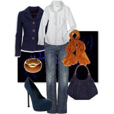 I Like that the touch of orange color is in scarf and bracelet only.