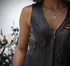 Leathers Vests. See Kelsey, Liz, Genevia, or Sarah for proper fitment on all your Motorclothes Merchandise.