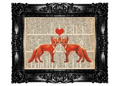 Sweetheart FOXes Upcycled Book Dictionary Print Art by nommon
