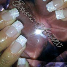 French glitter acrylic, bridal nails