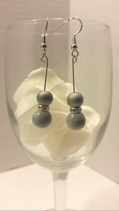 Grey drop earrings/gray earrings