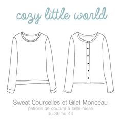 Patron PDF – Gilet Monceau / Sweat Courcelles FR/ENG – Cozy Little World – essentiels couture Sewing Clothes, Diy Clothes, Make Your Own Clothes, Dress Making Patterns, Plus Size Maxi, Couture Sewing, Couture Tops, Mode Inspiration, Clothing Patterns