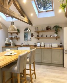17 Stunning Rustic Country Kitchen Design And Decor Ideas ~ Gorgeous House Kitchen Post, Open Plan Kitchen, New Kitchen, Kitchen Dining, Kitchen Decor, Kitchen Units, Kitchen Ideas, Rustic Country Kitchens, Country Kitchen Designs