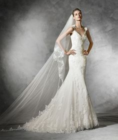 Pronovias Laren, lace mermaid wedding dress. Size 10, Off White (Dress is available and in Stock from A Princess Bride Couture)