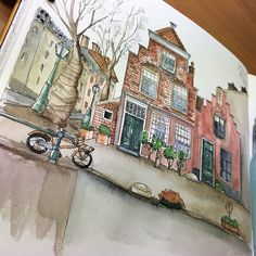Leiden, the Netherlands. Day  170 in #365daysofdrawing #365 #illustration #sketch #sketchingeveryday #urbansketch #quicksketch #leiden #netherlands #watercolor #waterproofink  #leidenchannels #tsusketch