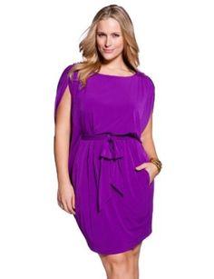 eloquii Batwing Jersey Knit Dress Womens Plus Size Bright Violet 22W
