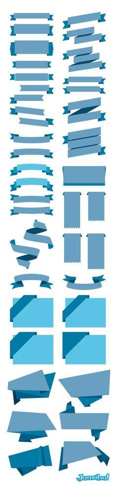 Ribbons o Cintas con Efecto Plano en Vectores | Jumabu! Design Tools - Vectorizados - Iconos - Vectores - Texturas