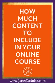 So you want to create your online course in the next few months but you think ...... 'How do I take all that I want to share and distill it down into something easy for others to digest without compromising the content?' This is a good question because it can be hard to really distill everything you know into a course. This post will show you how much content you should include in your course: http://www.janetkafadar.com/how-much-content-to-include-in-your-online-course/
