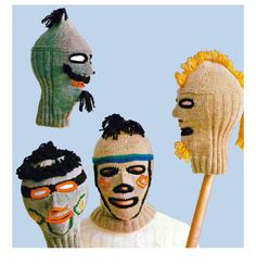 A mod, mad group of ski mask helmets to knit from the For the guys, a Mohawk, goatee beard and a mustache The gals wear hoop earrings and Moustache, Goatee Beard, Wooly Bully, Look Vintage, Balaclava, Vintage Knitting, Digital Pattern, Vintage Patterns, New Trends