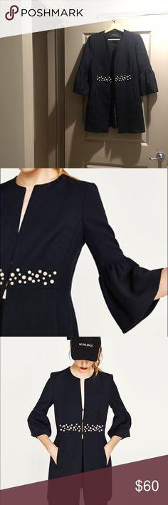 Zara coat Light weight coat with thin lining and Pearl detail navy blue Zara Jackets & Coats