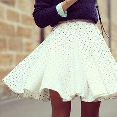 Polka dot full skirt.