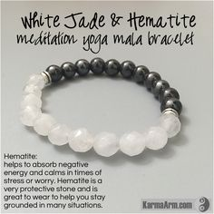 White Jade is a calming, grounding stone that also protects the wearer from negative energies. It brings peace, harmony and luck. Hematite is also good for working with the Root Chakra, helping to transform negative energies into a more positive vibration. Those in relationships can benefit from the cooperation vibe coming from Hematite. Hematite is used to improve relationships. If you need your personal relationship to be better, wear hematite.