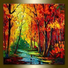 Modern Landscape Tree Art Seasons Original Painting by willsonart, $265.00