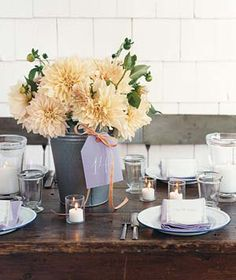 This is a greatntable setting for a garden wedding and party.
