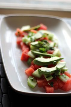 Bright and refreshing avocado, watermelon & cucumber salad with a delicious drizzle olive oil, squeeze of lime juice, and sprinkle of fresh cilantro. This salad is like summer on a plate and makes a gorgeous side or appetizer. Healthy Nutrition, Healthy Snacks, Healthy Eating, Healthy Recipes, Vegetarian Recipes, Clean Eating, Watermelon Salad, Cucumber Salad, Avocado Recipes