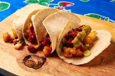 Potato and chorizo tacos - These are street tacos style. Great with salsa verde and a squirt of lime. Really easy to make.