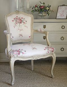 Very restrained, very English, very feminine! Chairs from Kate Forman Designs .   My favorite is #2 (the cushy, oversized o...