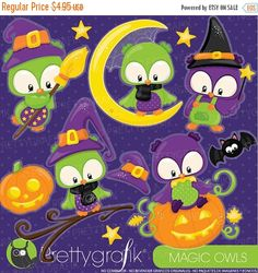80% OFF SALE 80 Percent OFF Sale Halloween owls clipart commercial use, owls vector graphics, digital clip art, halloween - CL912