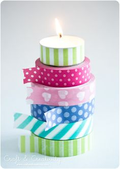 Washi taped tea lights