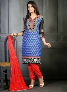 Sizzling Blue & Red Chiffon Based #Salwar #Suit With Zari Work