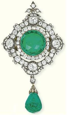 Emerald and diamond brooch  1860  Christie's