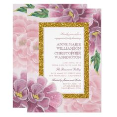 #engagement #party #invitations - #Engagement Party | Pink Floral Gold Glitter Border Card