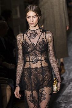 Amazing sheer black lace gown see through couture