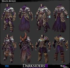 The Character Art of Darksiders II - Game Assets - Polycount Forum 3d Model Character, Character Modeling, Game Character, Character Concept, 3d Modeling, Darksiders Horsemen, Darksiders Death, Darksiders Game, Armor Concept