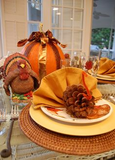 "Love the pine cone turkey napkins...A Thanksgiving Tablescape for the ""Kid's"" Table"